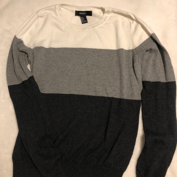 Forever 21 Sweaters - Black/Gray/White Striped Crew Sweater
